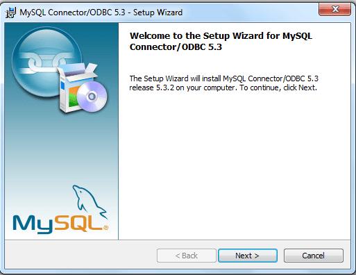 mysql odbc install step1