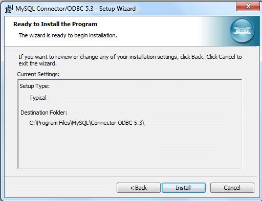 mysql odbc install step5