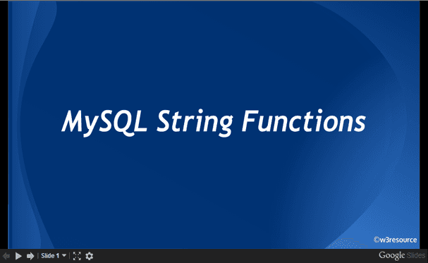 MySQL String Functions, slide presentation