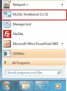 mysql workbench start