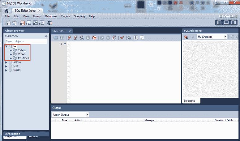 mysql 5.6 workbench select database