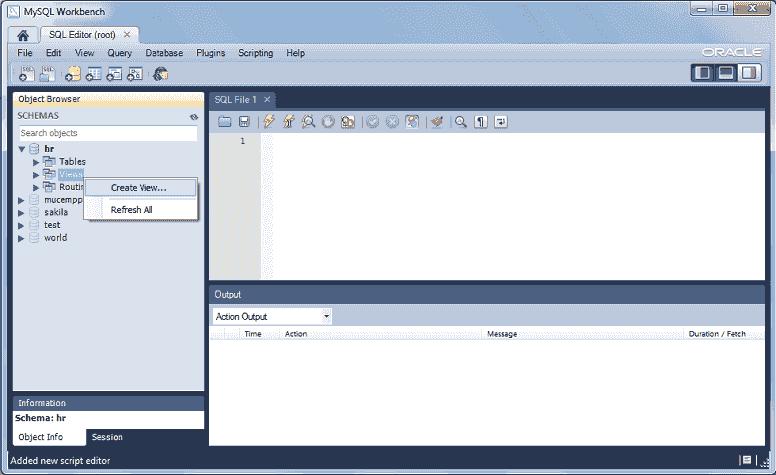 mysql 5.6 workbench selece views