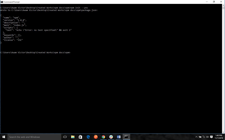 npm Create a default package