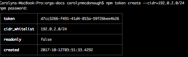 npm How to Create a New CIDR-Restricted Token