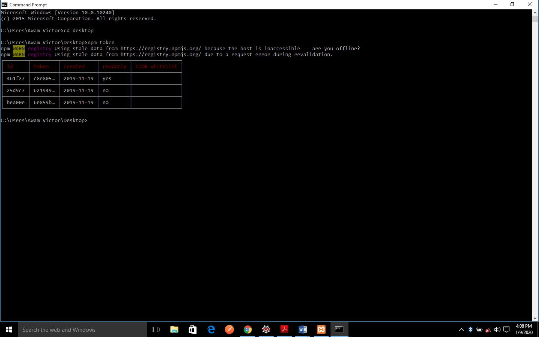 npm token list output