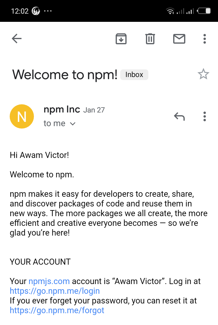 npm welcome to npm