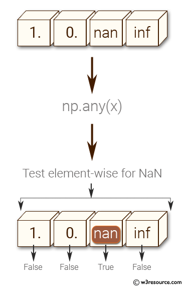 NumPy: Test element-wise for NaN of a given array.