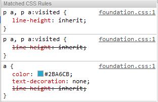 paragraph link styles Zurb Foundation 3