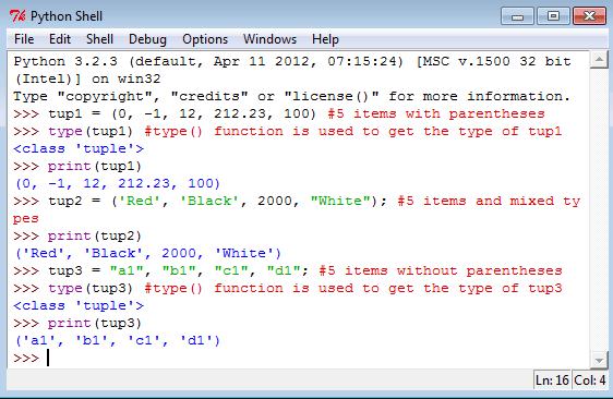 Python create tuples