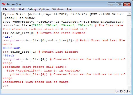 Python List indices