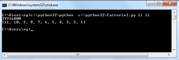 python script executes in windows command line
