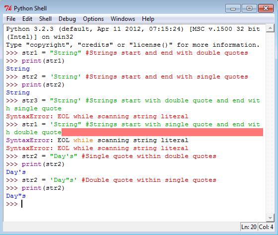 Python string declaration