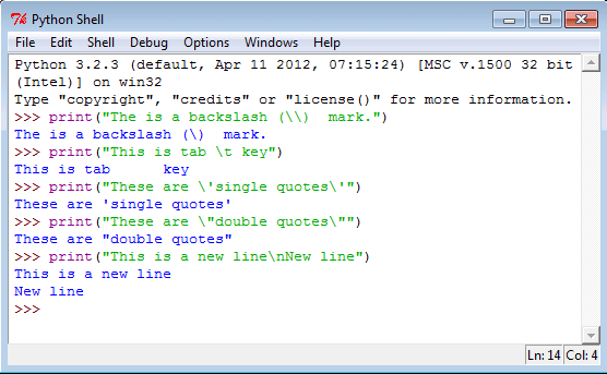 Python strings special characters
