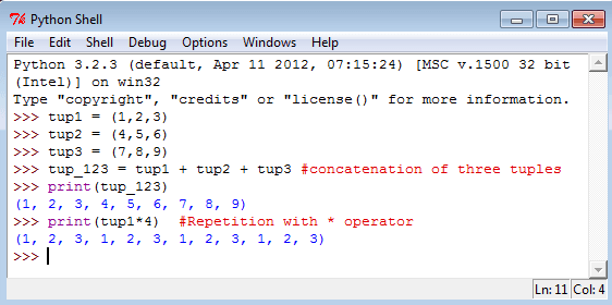 python tuples with the operator