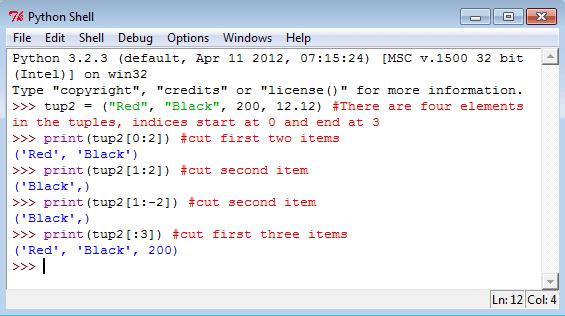 Slice a Python tuples