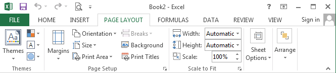 Excel: Page-layout ribbon
