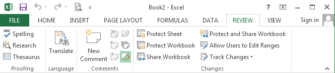 Excel: Review-ribbon