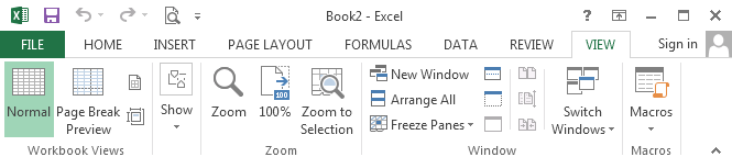 Excel: View-ribbon