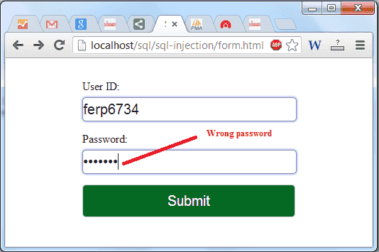 secure form wrong data entry