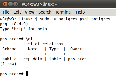 show table command line
