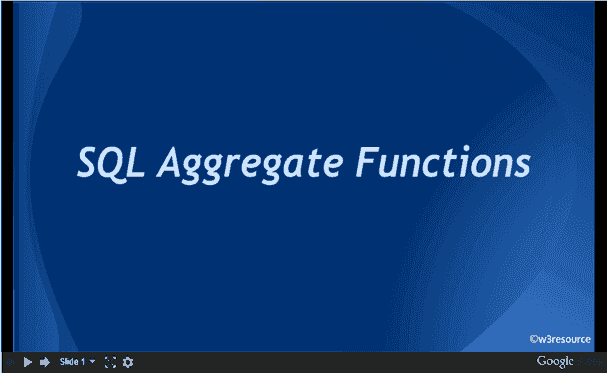 SQL Aggregate Functions, slide presentation