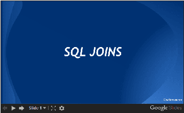 SQL JOINS, slide presentation