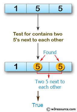 Swift Array Programming Exercises: Test if a given array of integers contains two 5's next to each other