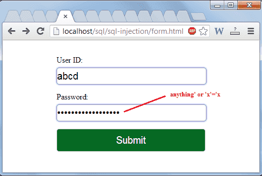 unauthorized login form