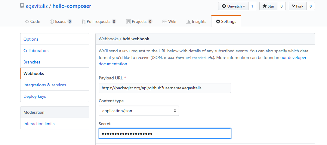 Activating webhook on github
