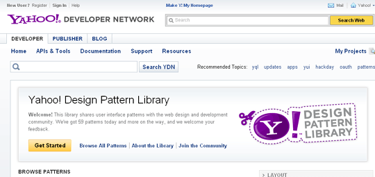 yahoo! design pattern library